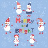 A cute snowmen card for merry and bright Christmas Royalty Free Stock Image