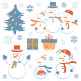 Cute snowmen collection Royalty Free Stock Photography