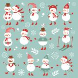 Cute snowmen collection Royalty Free Stock Images