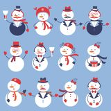 Cute snowmen collection Stock Photos
