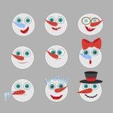 Cute snowmen  head emotion vector avatars set. Cartoon  Royalty Free Stock Image
