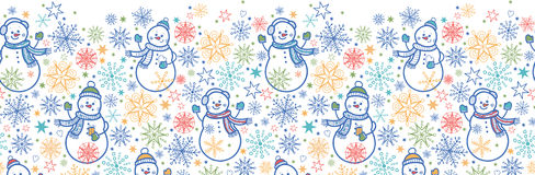 Cute snowmen horizontal seamless pattern. Vector cute snowmen horizontal seamless pattern background with hand drawn elements Stock Photos