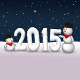 Cute Snowmen 2015 Illustration Royalty Free Stock Photography