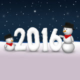 Cute Snowmen 2016 Illustration Stock Image