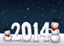Cute Snowmen 2014. 2 cute snowmen are looking to the snowy number of the year 2014 Vector Illustration