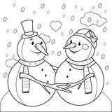 Cute snowmen in love coloring page Stock Photo