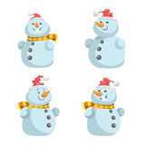 Cute snowmen in red hat with scarf vector icons set. Cartoon  expression  characters. Simple gradient mascots Stock Images