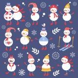 A cute snowmen seamless collection Stock Photography