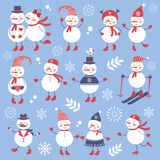 A cute snowmen seamless collection Royalty Free Stock Images