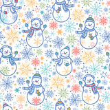 Cute snowmen seamless pattern background. Vector cute snowmen seamless pattern background with hand drawn elements Royalty Free Stock Photo
