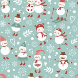 Cute snowmen seamless pattern Stock Image