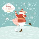 Cute snowmen ski. New year's illustration Royalty Free Stock Photography