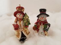 Cute Snowmen Standing On A Cotton Cloud, Wintry Scene, Christmas Card royalty free stock photography