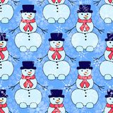Cute snowmen on white background Stock Images