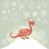 Cute snowy dragon Royalty Free Stock Image