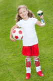 Cute soccer champion royalty free stock images