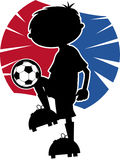 Cute Soccer Football Boy Silhouette Stock Photos