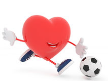 Cute soccer player heart on white Stock Photo