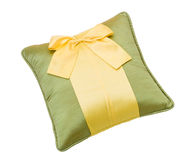 Cute bow pillow isolated on white  Stock Image