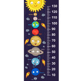 Cute solar system height measure. In original proportions 1:4 - vector illustration, eps Stock Photos