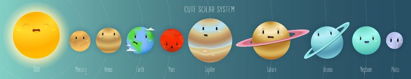 Cute solar system in space cartoon style with names and orbits royalty free illustration