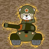 Cute soldier cartoon on armored vehicle. Military equipment with cute soldier on camouflage background. Vector cartoon illustration, no mesh, vector on eps 10 Stock Photo