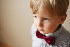 Cute solemn little boy wearing a bow tie Stock Photography