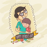 Cute son with his dad for Happy Fathers Day. Royalty Free Stock Photo