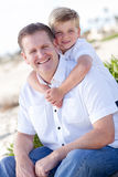 Cute Son with His Handsome Dad Portrait. At the Beach Stock Image