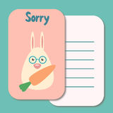 Cute sorry card Royalty Free Stock Photography