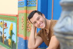 Cute South American young traditional farmer.  stock photo