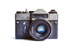 Cute soviet retro film camera isolated on white background Royalty Free Stock Images