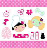 Cute spa set elements Royalty Free Stock Image