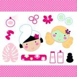 Cute spa vastgestelde elementen Royalty-vrije Stock Afbeelding