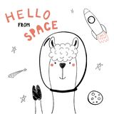 Cute space llama. Hand drawn portrait of a cute funny llama in space, waving, with typography. Isolated objects on white background. Line drawing. Vector Stock Photo