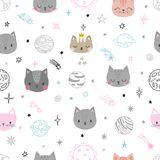Cute space seamless pattern with cartoon cats. Abstract print. Hand drawn nursery background with funny animals for children. Vector illustration Stock Photo