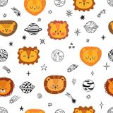 Cute space seamless pattern with cartoon lions. Abstract print. Hand drawn nursery background with funny animals for little kids. Vector illustration stock illustration