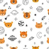 Cute space seamless pattern with cartoon tigers. Abstract print. Hand drawn nursery background with funny animals for little kids Royalty Free Stock Photos