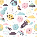 Cute space seamless pattern. Colorful kids background. Colorful kids background. Cute space seamless pattern stock illustration
