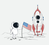 Cute spaceman on Moon Royalty Free Stock Photos
