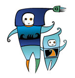 Cute spacemen Stock Images