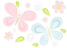 Cute sparkling butterflies background Stock Image