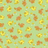 Cute sparrow seamless pattern. Cute yellow and brown sparrow seamless pattern. Vector illustration Royalty Free Illustration