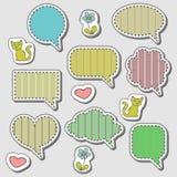 Cute speech bubbles stickers set. A set of cute speech bubbles and stickers Stock Photos
