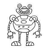 Cute spherical robot vector illustration. Science fiction. Original cartoon retro character Stock Photos