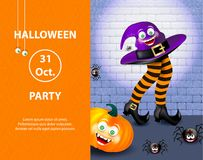 Cute spider on cobweb, orange pumpkin with happy monster face, purple witch hat and legs with striped stockings with text. Hallowe. En inventation card or flyer vector illustration