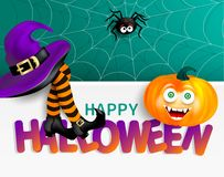 Cute spider on cobweb, orange pumpkin with happy monster face, purple witch hat and legs with striped stockings on white banner wi. Th bright text Happy vector illustration