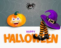 Cute spider on cobweb, orange pumpkin with happy monster face, purple witch hat and legs with striped stockings on white banner wi. Th text Happy Halloween on stock illustration