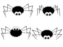 Cute spiders. Set of cute black spiders Royalty Free Stock Photography
