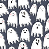 Cute spooky ghosts on dark background. Happy Halloween illustration. Seamless vector pattern with ghosts child drawing style. Flat design. Ghosts with Stock Photos